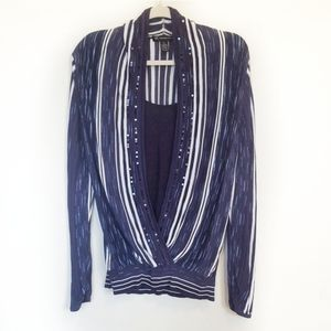INC Striped Crossover Top with Sequins